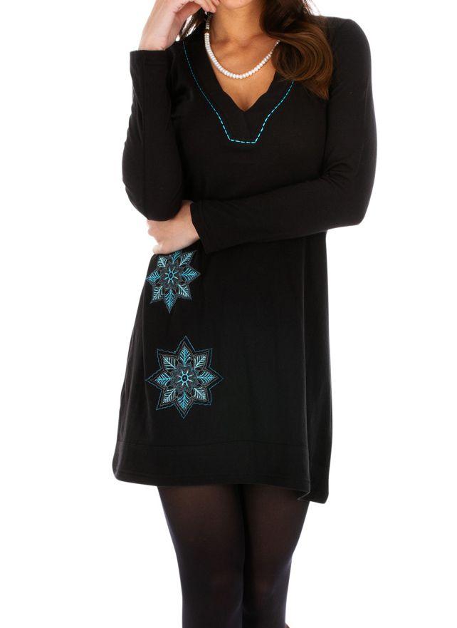 Robe courte femme ethnique et originale Salsa noire 313844