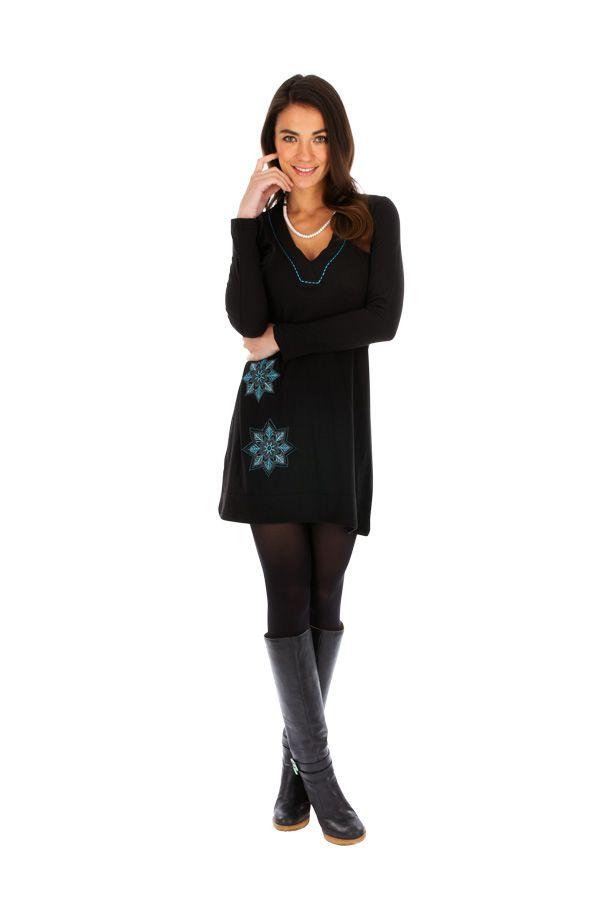 Robe courte femme ethnique et originale Salsa noire 313845