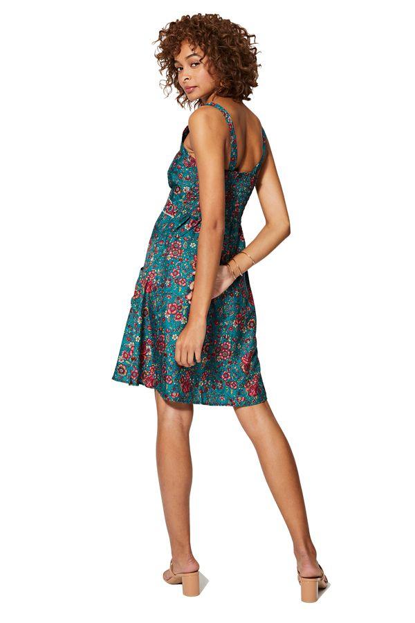 Robe courte femme imprimé fleurs mode bohème Yurika