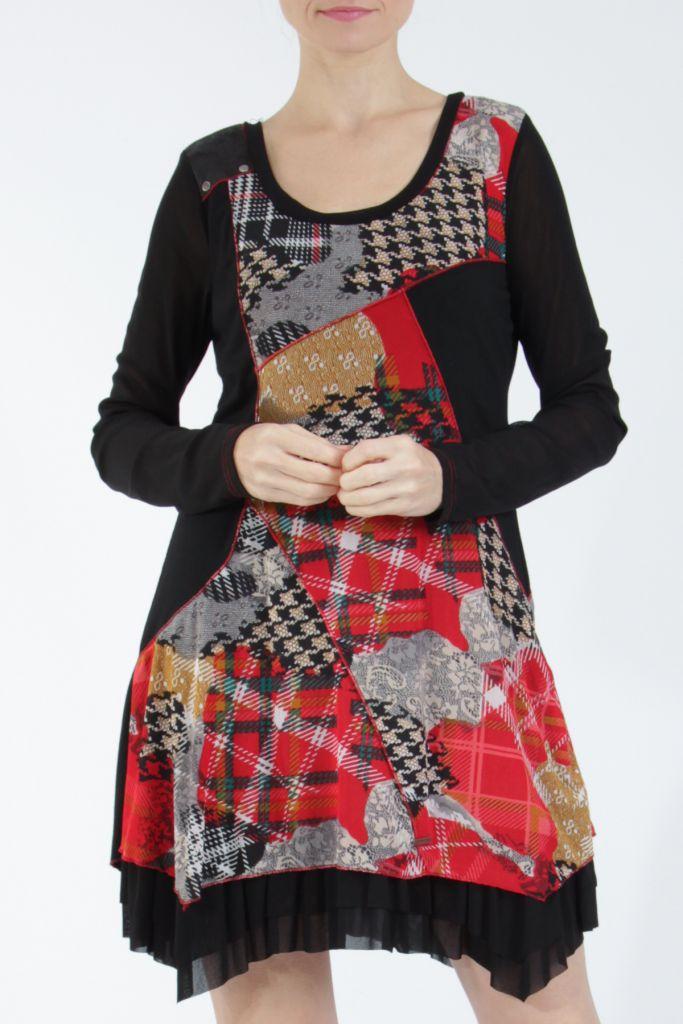 Robe courte femme patchwork noir et rouge Rouna 305224