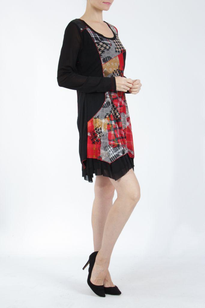 Robe courte femme patchwork noir et rouge Rouna 305225