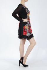 Robe courte femme patchwork noir et rouge Rouna 305226