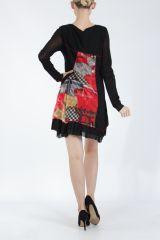 Robe courte femme patchwork noir et rouge Rouna 305227