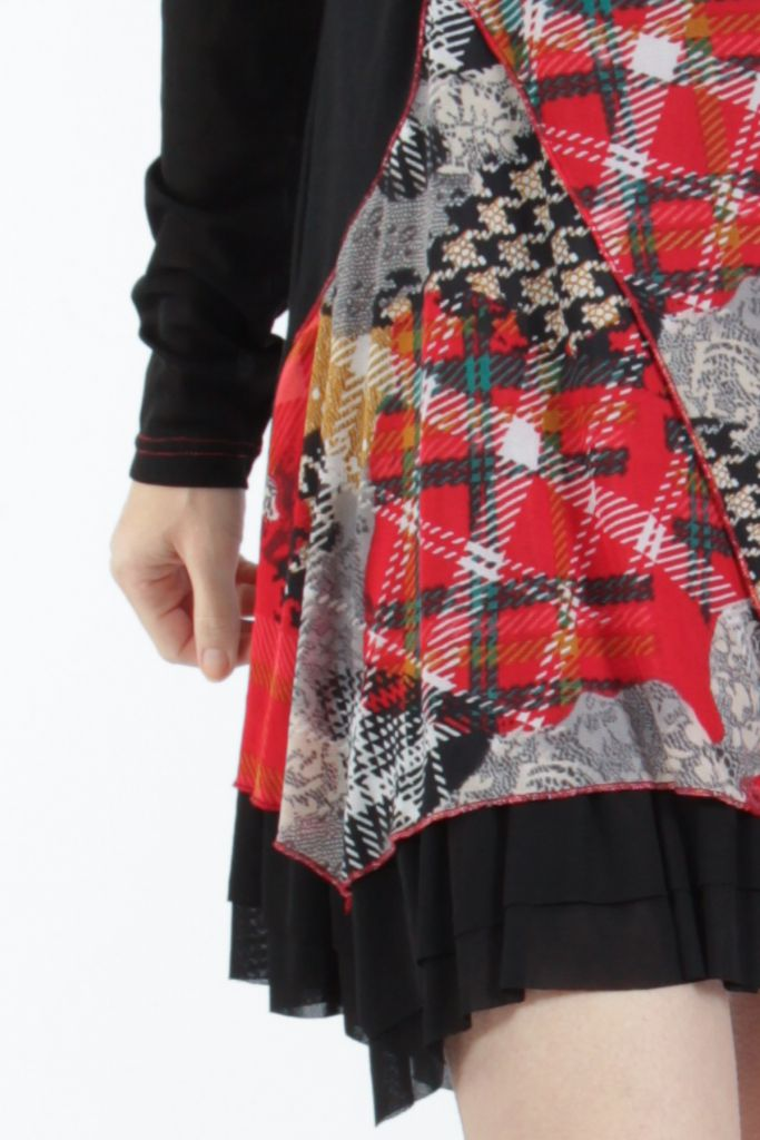 Robe courte femme patchwork noir et rouge Rouna 305228
