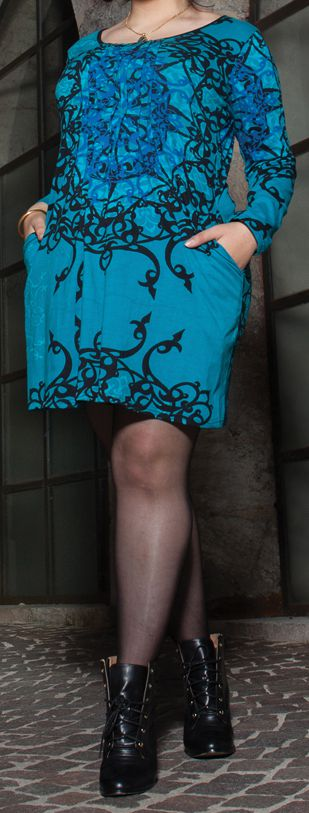 Robe courte femme pulpeuse Ethnique et Originale Kadia Bleue 274887
