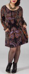 Robe courte femme pulpeuse Ethnique et Originale Kadia Noire 274883