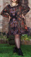 Robe courte femme pulpeuse Ethnique et Originale Kadia Noire 274884