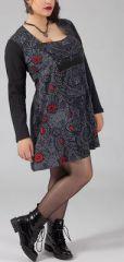 Robe courte femme pulpeuse Ethnique et Originale Kadija Grise 274892