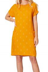 Robe courte femme tendance vintage jaune été originale chic Hedvig