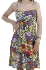 Robe courte floral idéal été à fines bretelles anis Lathena 296655