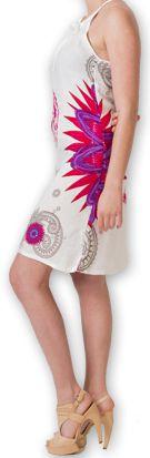 Robe courte fluide d'été Imprimée et Ethnique Teresa Blanche 277181