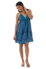 robe courte fluide dos nu avec bretelles à nouer et volants Ciara 289902