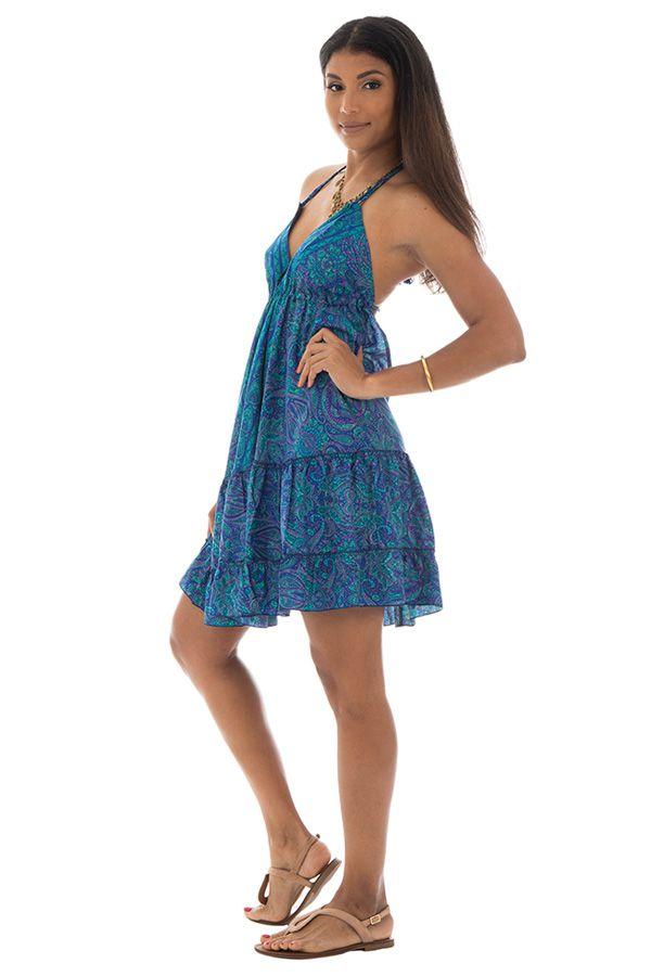 robe courte fluide dos nu avec bretelles à nouer et volants Ciara 289903