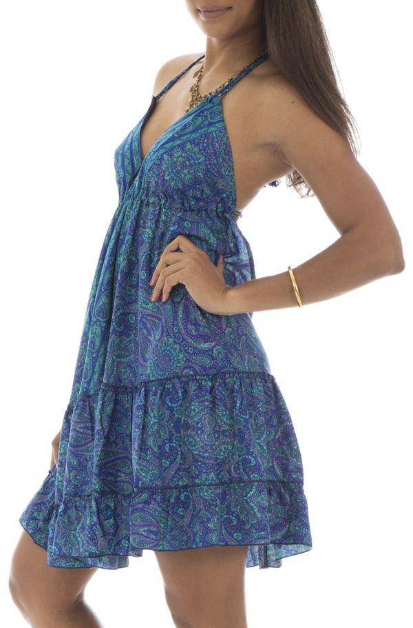 robe courte fluide dos nu avec bretelles à nouer et volants Ciara 292143