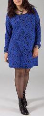 Robe courte grande taille à manches longues bleue Eve 274443