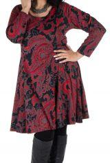 Robe courte grande taille avec manches longues et imprimés Paisleys Shester 302236
