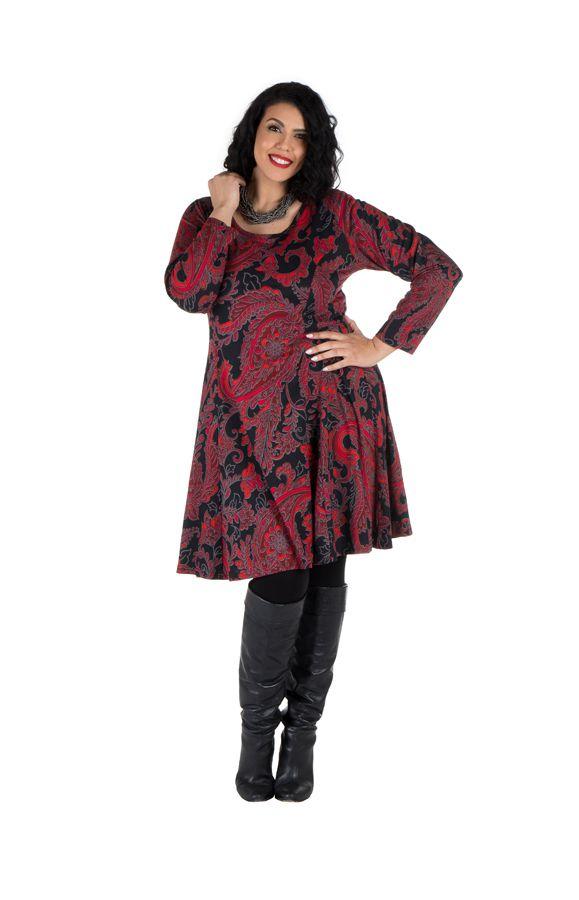 Robe courte grande taille avec manches longues et imprimés Paisleys Shester 302237