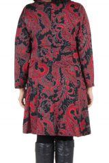 Robe courte grande taille avec manches longues et imprimés Paisleys Shester 302238