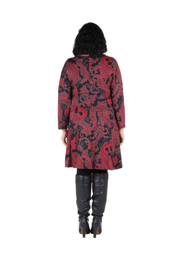Robe courte grande taille avec manches longues et imprimés Paisleys Shester 302239