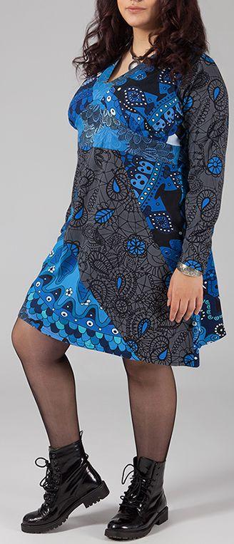 Robe courte grande taille Colorée et Originale Kaaly Bleue 274874