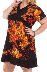 Robe courte Grande Taille Ethnique et Colorée Mounia Noire et Orange 284427