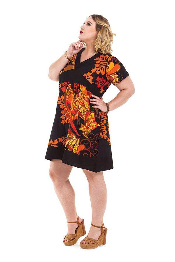 Robe courte Grande Taille Ethnique et Colorée Mounia Noire et Orange 284428