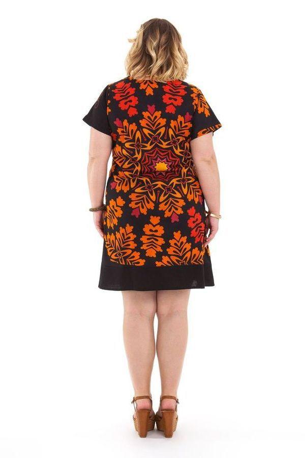 Robe courte Grande Taille Ethnique et Colorée Mounia Noire et Orange 284429
