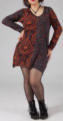 Robe courte grande taille Ethnique et Originale Hajar Marron 274767
