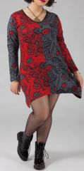 Robe courte grande taille Ethnique et Originale Hajar Rouge 274768