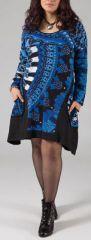 Robe courte grande taille Ethnique et Originale Hania Bleu Vif 274778