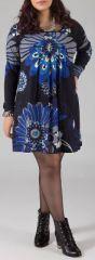 Robe courte grande taille Ethnique et Originale Kady Bleue 274897