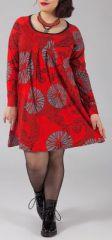 Robe courte grande taille Ethnique et Originale Kady Rouge 274898