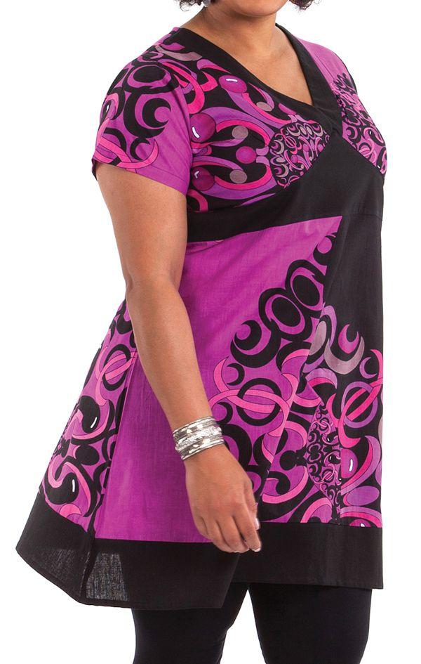 Robe courte Grande Taille Mounia Ethnique et Colorée Noire et Rose 284436