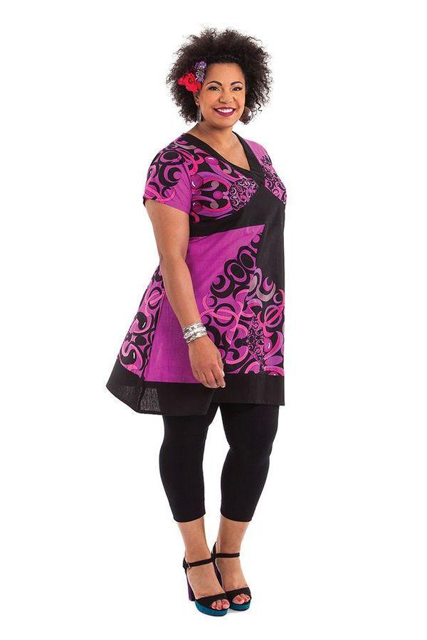Robe courte Grande Taille Mounia Ethnique et Colorée Noire et Rose 284437