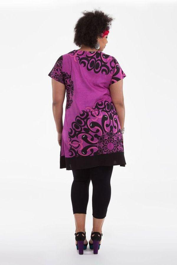 Robe courte Grande Taille Mounia Ethnique et Colorée Noire et Rose 284438