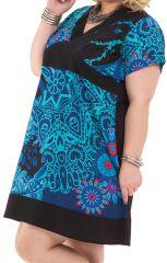 Robe courte Grande Taille Noire et Bleue Ethnique et Colorée Mounia 284430
