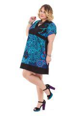 Robe courte Grande Taille Noire et Bleue Ethnique et Colorée Mounia 284431