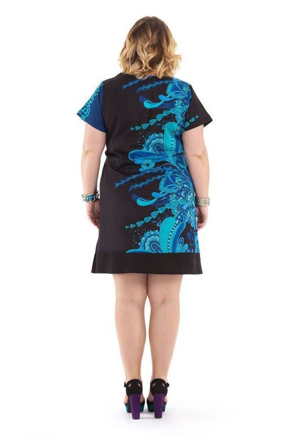 Robe courte Grande Taille Noire et Bleue Ethnique et Colorée Mounia 284432