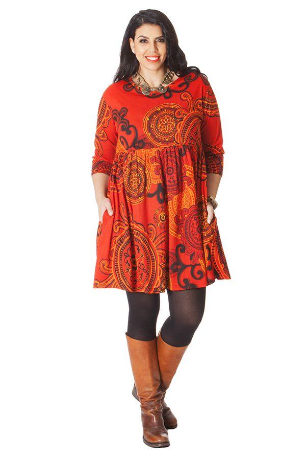 Robe courte Grande taille Originale et Fantaisie Grenade Orange 286217