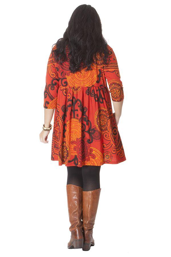 Robe courte Grande taille Originale et Fantaisie Grenade Orange 286218