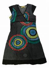 Robe courte grise imprimée ethnique à col en V Chumy 300142