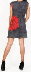 Robe courte grise imprimée ethnique-chic Marysia