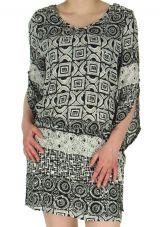 Robe courte Hyper légère et Ethnique Kasia Blanche et Noire 282981
