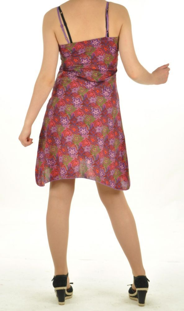 Robe courte imprimé lallu violette 254561