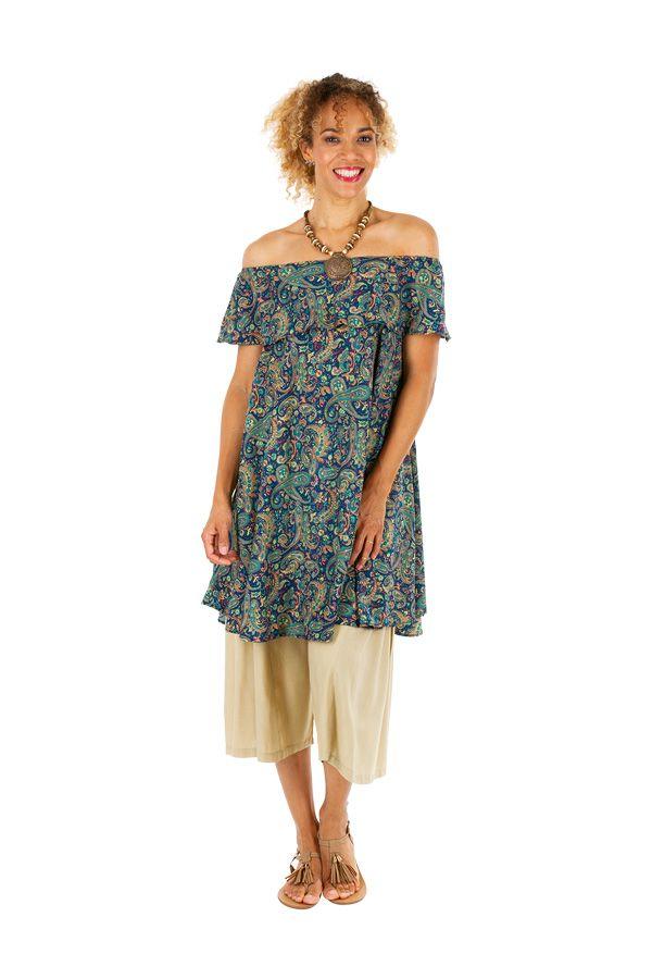 Robe courte imprimée à col bateau style bohème Tiphanie 306306