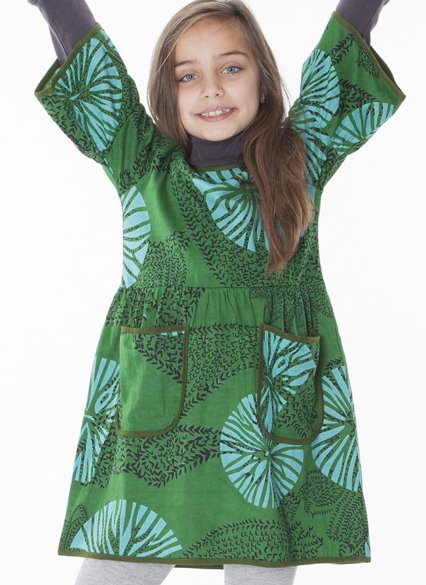 Robe courte imprimée avec deux poches pour fille 287236