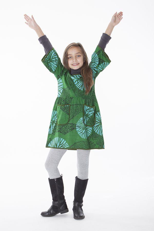 Robe courte imprimée avec deux poches pour fille 287237