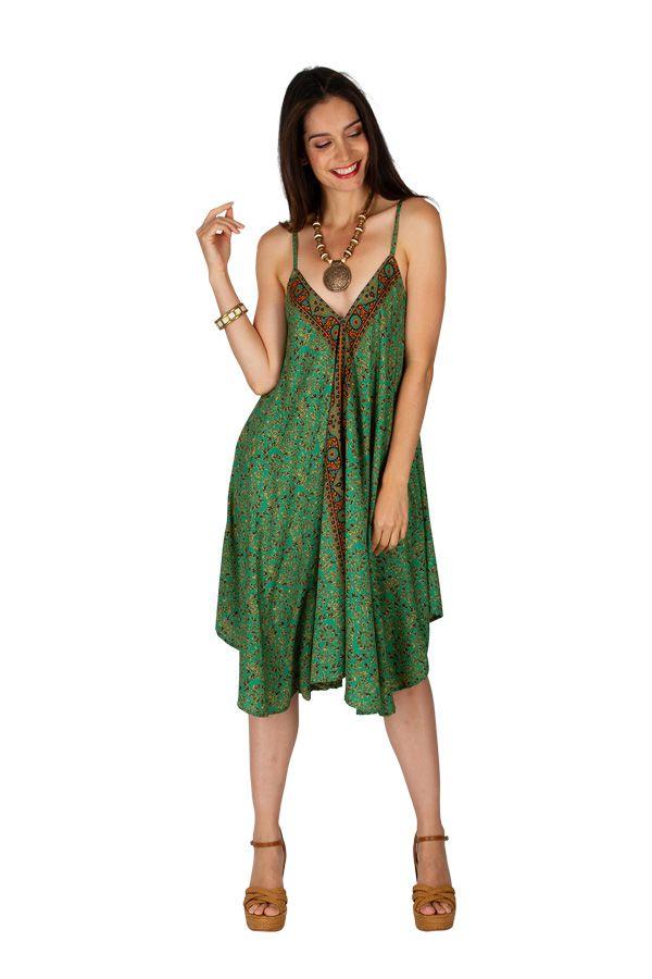 Robe courte imprimée avec un décolleté et de fines bretelles Liah