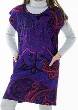 Robe courte imprimée de couleur violette Mathilde 287356