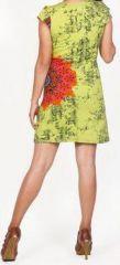 Robe courte imprimée ethnique-chic anis Marysia